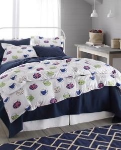 #3 Cup o' Tea flannel bedding, www.GarnetHill.com