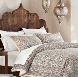 #4 VivaTerra Taupe Block Print bedding