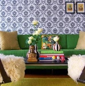 Domino magazine emerald sofa