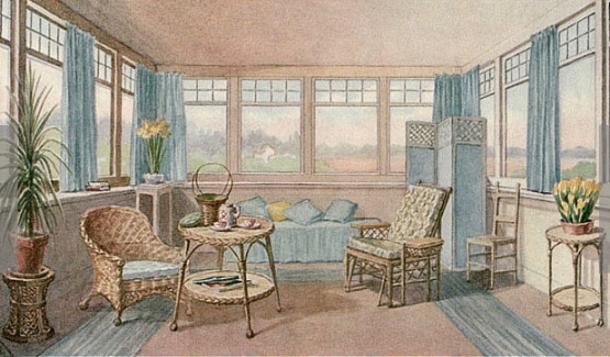 Illustration of 1911 sleeping porch, www.lhj.com